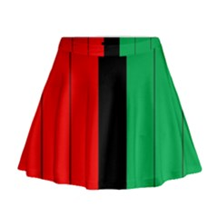 Kwanzaa Colors African American Red Black Green  Mini Flare Skirt