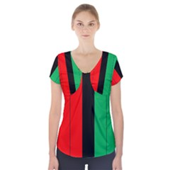 Kwanzaa Colors African American Red Black Green  Short Sleeve Front Detail Top