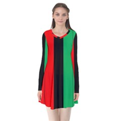 Kwanzaa Colors African American Red Black Green  Flare Dress