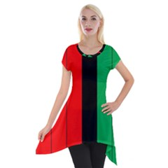 Kwanzaa Colors African American Red Black Green  Short Sleeve Side Drop Tunic