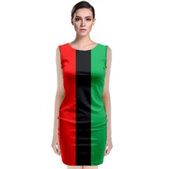 Kwanzaa Colors African American Red Black Green  Sleeveless Velvet Midi Dress