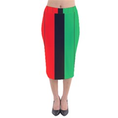 Kwanzaa Colors African American Red Black Green  Velvet Midi Pencil Skirt