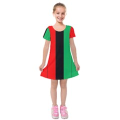 Kwanzaa Colors African American Red Black Green  Kids  Short Sleeve Velvet Dress
