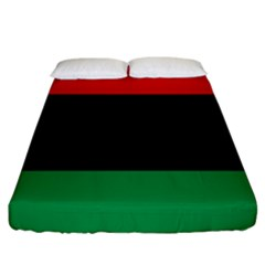 Pan African Unia Flag Colors Red Black Green Horizontal Stripes Fitted Sheet (king Size)
