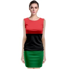 Pan African Unia Flag Colors Red Black Green Horizontal Stripes Classic Sleeveless Midi Dress