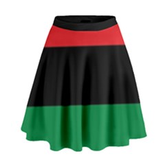 Pan African Unia Flag Colors Red Black Green Horizontal Stripes High Waist Skirt