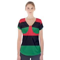 Pan African Unia Flag Colors Red Black Green Horizontal Stripes Short Sleeve Front Detail Top