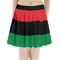Pan African Unia Flag Colors Red Black Green Horizontal Stripes Pleated Mini Skirt