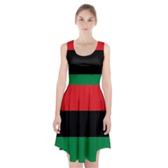 Pan African Unia Flag Colors Red Black Green Horizontal Stripes Racerback Midi Dress