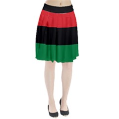 Pan African Unia Flag Colors Red Black Green Horizontal Stripes Pleated Skirt