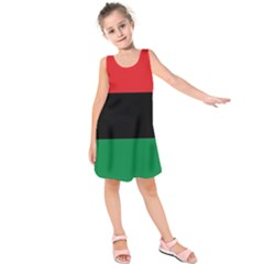 Pan African Unia Flag Colors Red Black Green Horizontal Stripes Kids  Sleeveless Dress