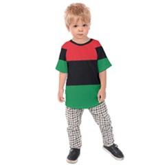 Pan African Unia Flag Colors Red Black Green Horizontal Stripes Kids  Raglan Tee