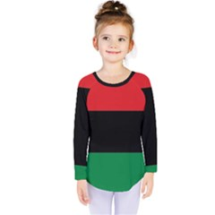 Pan African Unia Flag Colors Red Black Green Horizontal Stripes Kids  Long Sleeve Tee