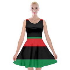 Pan African Unia Flag Colors Red Black Green Horizontal Stripes Velvet Skater Dress