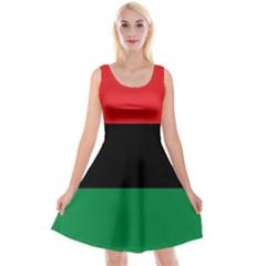 Pan African Unia Flag Colors Red Black Green Horizontal Stripes Reversible Velvet Sleeveless Dress