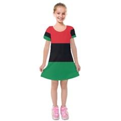 Pan African Unia Flag Colors Red Black Green Horizontal Stripes Kids  Short Sleeve Velvet Dress