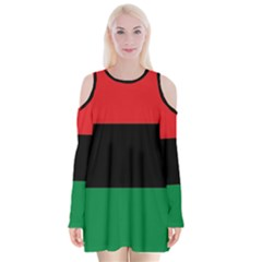 Pan African Unia Flag Colors Red Black Green Horizontal Stripes Velvet Long Sleeve Shoulder Cutout Dress