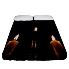 Hanukkah Chanukah Menorah Candles Candlelight Jewish Festival Of Lights Fitted Sheet (queen Size)