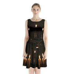 Hanukkah Chanukah Menorah Candles Candlelight Jewish Festival Of Lights Sleeveless Chiffon Waist Tie Dress