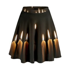 Hanukkah Chanukah Menorah Candles Candlelight Jewish Festival Of Lights High Waist Skirt