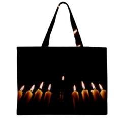 Hanukkah Chanukah Menorah Candles Candlelight Jewish Festival Of Lights Medium Zipper Tote Bag