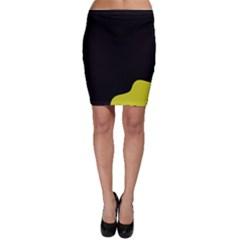 Black And Yellow Bodycon Skirt