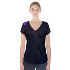 Purple and black Short Sleeve Front Detail Top