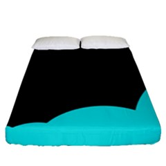 Black And Cyan Fitted Sheet (queen Size)