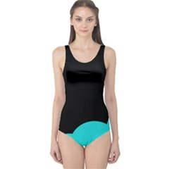 Black and cyan One Piece Swimsuit
