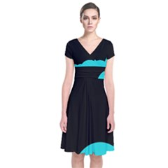 Black and cyan Short Sleeve Front Wrap Dress