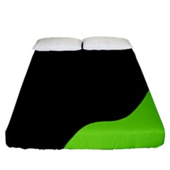 Black And Green Fitted Sheet (queen Size)