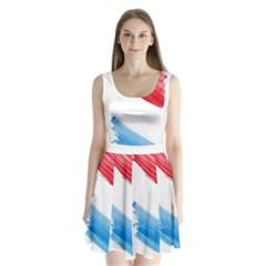 Tricolor Banner Flag, Red White Blue Split Back Mini Dress