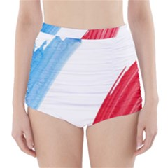 Tricolor Banner Flag France, Blue White Red Watercolor High Waisted Bikini Bottoms