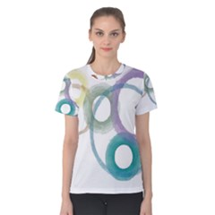 Rainbow Color Circles, Watercolor   Aquarel Painting Women s Cotton Tee
