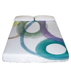 Rainbow Color Circles, Watercolor   Aquarel Painting Fitted Sheet (queen Size)