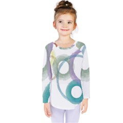 Rainbow Color Circles, Watercolor   Aquarel Painting Kids  Long Sleeve Tee