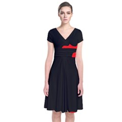 Black and red Short Sleeve Front Wrap Dress