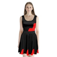 Black and red Split Back Mini Dress