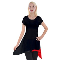 Black And Red Short Sleeve Side Drop Tunic