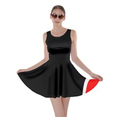 Simple Red And Black Desgin Skater Dress