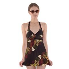 Autumn bubbles Halter Swimsuit Dress