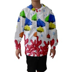 Corals and fish Hooded Wind Breaker (Kids)