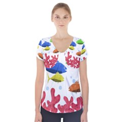 Corals And Fish Short Sleeve Front Detail Top