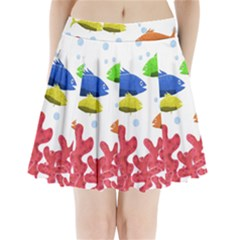 Corals and fish Pleated Mini Skirt