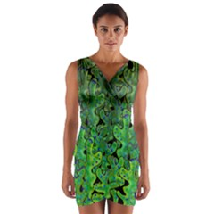 Green corals Wrap Front Bodycon Dress