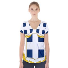 Variant Coat Of Arms Of Greece  Short Sleeve Front Detail Top