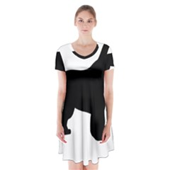 Newfie Silo Black Short Sleeve V Neck Flare Dress