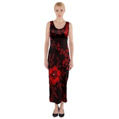 Small Red Roses Fitted Maxi Dress