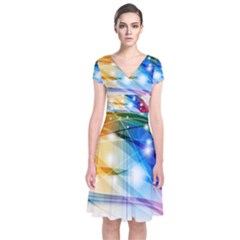 Colour Abstract Short Sleeve Front Wrap Dress