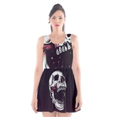 Death Skull Scoop Neck Skater Dress